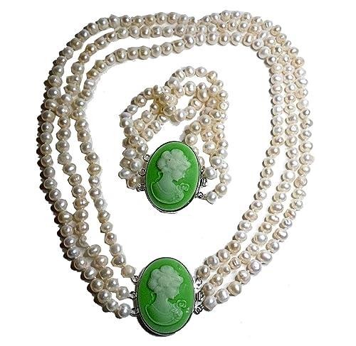 3 De reihiges Real de agua dulce perlas collar + pulsera con ...