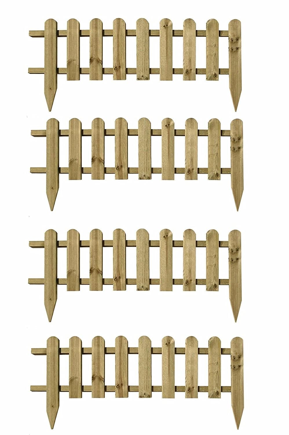 Pack of 4 x Large Wooden Panel Picket Fencing - Wood Garden Border Fence