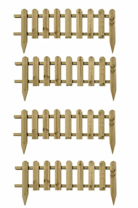 Beau Pack Of 4 X Large Wooden Panel Picket Fencing   Wood Garden Border Fence