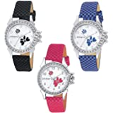 DAINTY Analogue Multicolour Flower Dial Leather Strap Girl's and Women's Watch -Combo of 3