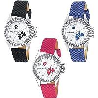 DAINTY W-001-002-003 Analogue White Dial Women's & Girl's Combo of 3 Watch - Lui-Pnk~Blu~Blk