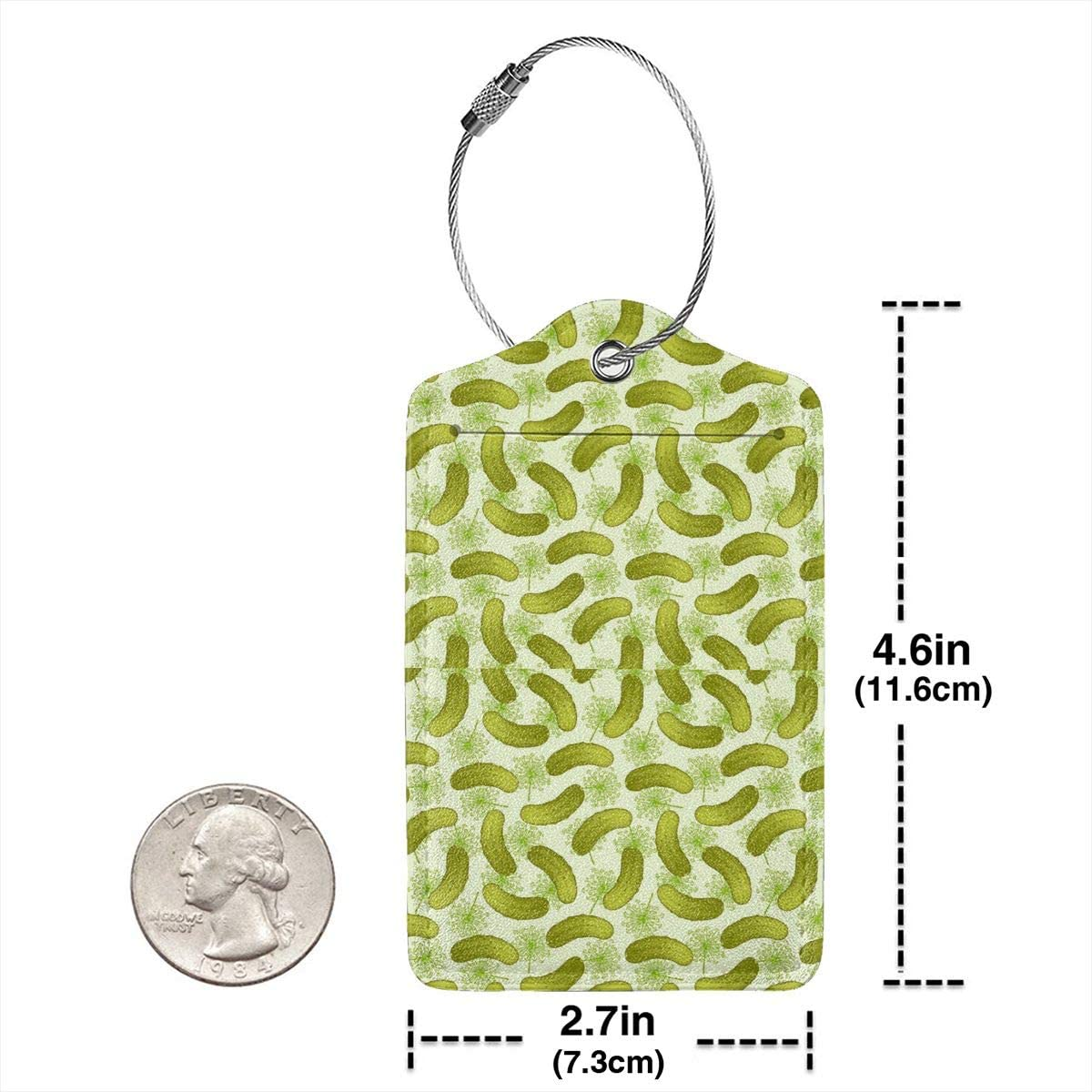 Dill Pickles Leather Luggage Tags Personalized Travel Accessories with Privacy Flap