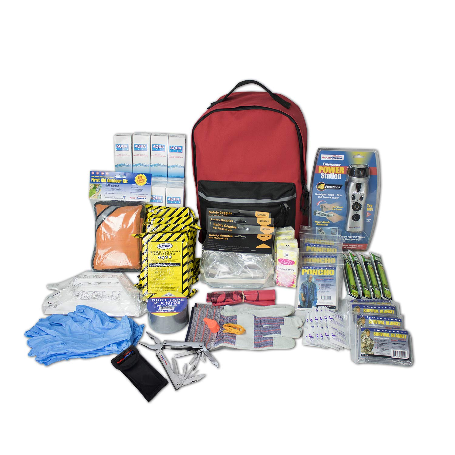 Bug Out Bag Survival Kit Prepare 4 Person 3-Day Deluxe Emergency Kit Backpack