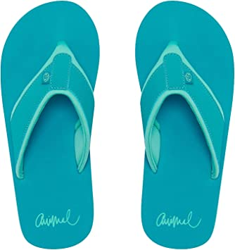 Animal Swish AOP Girls Flip Flops in Turquoise Green