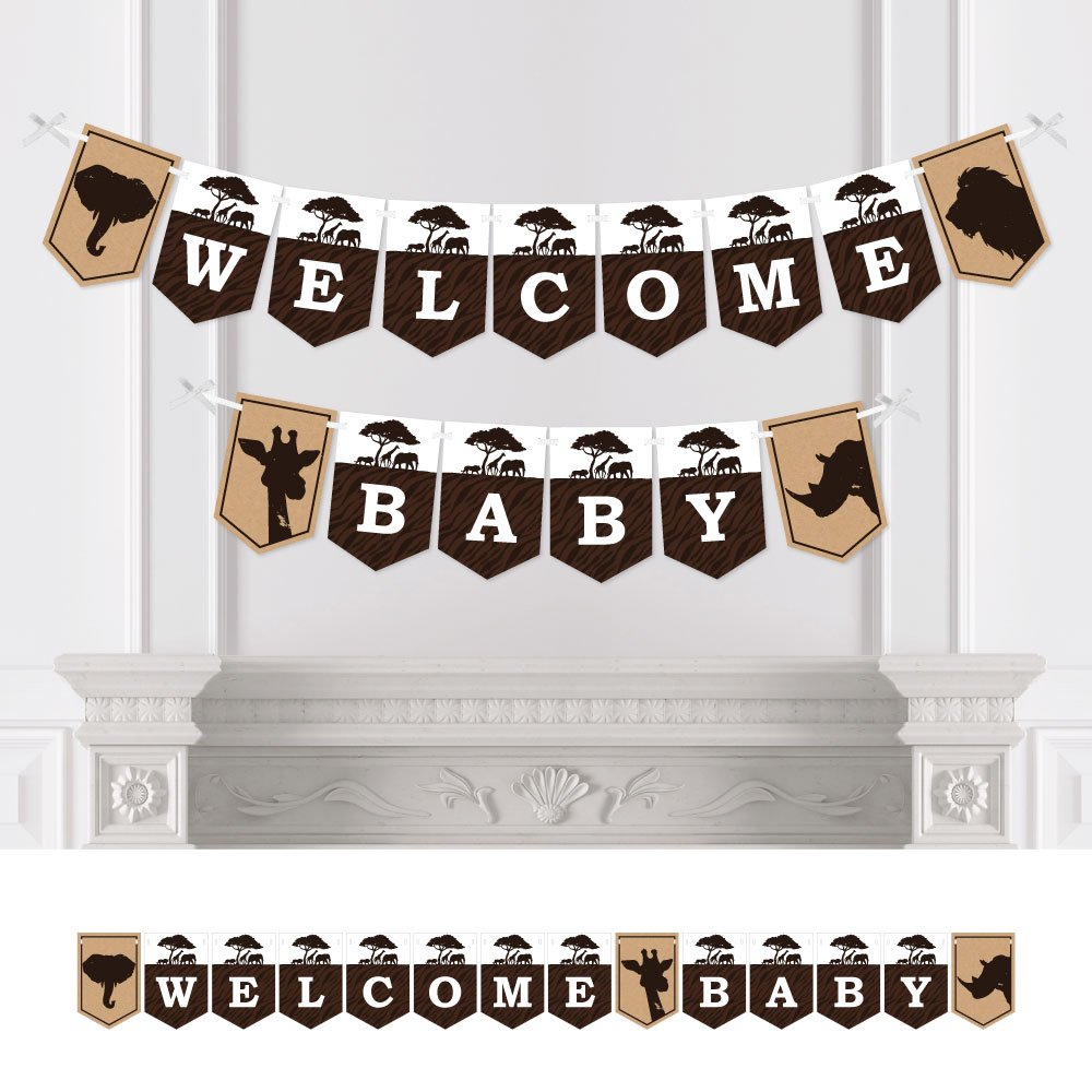 Big Dot of Happiness Wild Safari - African Jungle Adventure Baby Shower Bunting Banner - Party Decorations - Welcome Baby
