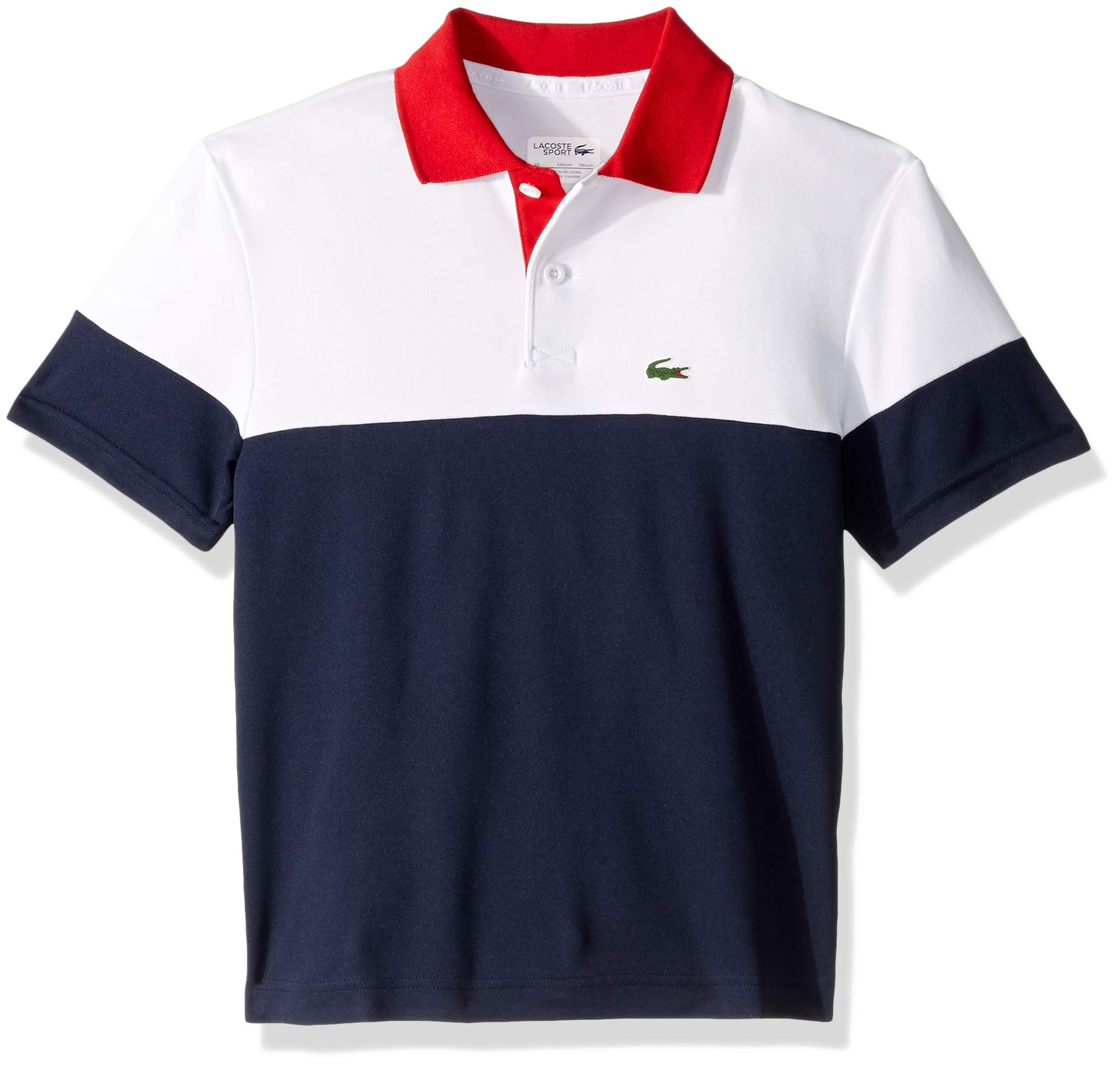 Lacoste Big BOY Poly Color Block Polo, White/Navy Blue/red, 12YR