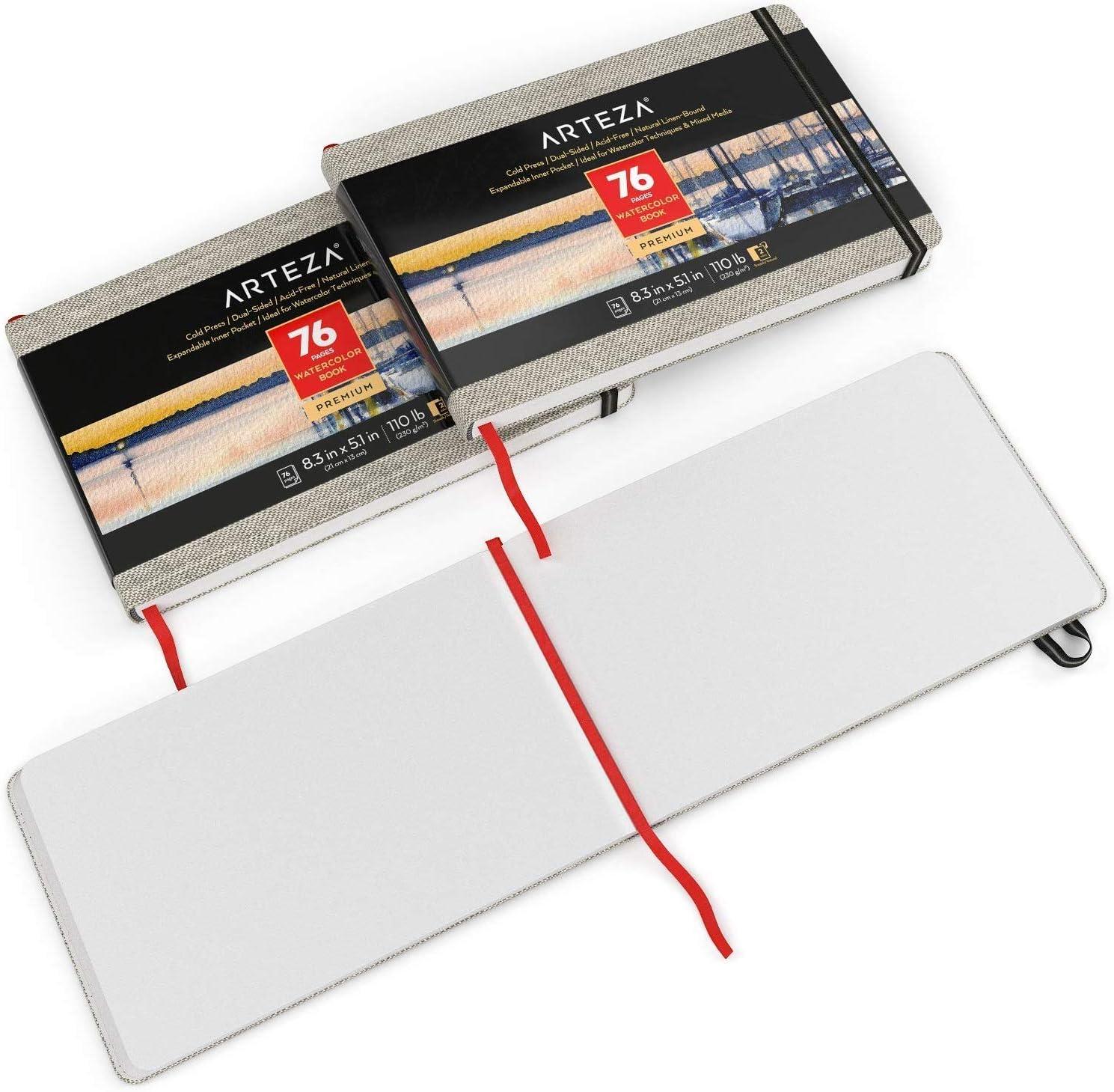 Arteza Libreta de acuarelas | 21 x 13 cm | Pack de 3 | 76 hojas| Papel prensado en frío | 230 gsm | Tapas de lino + cinta marcadora + correa