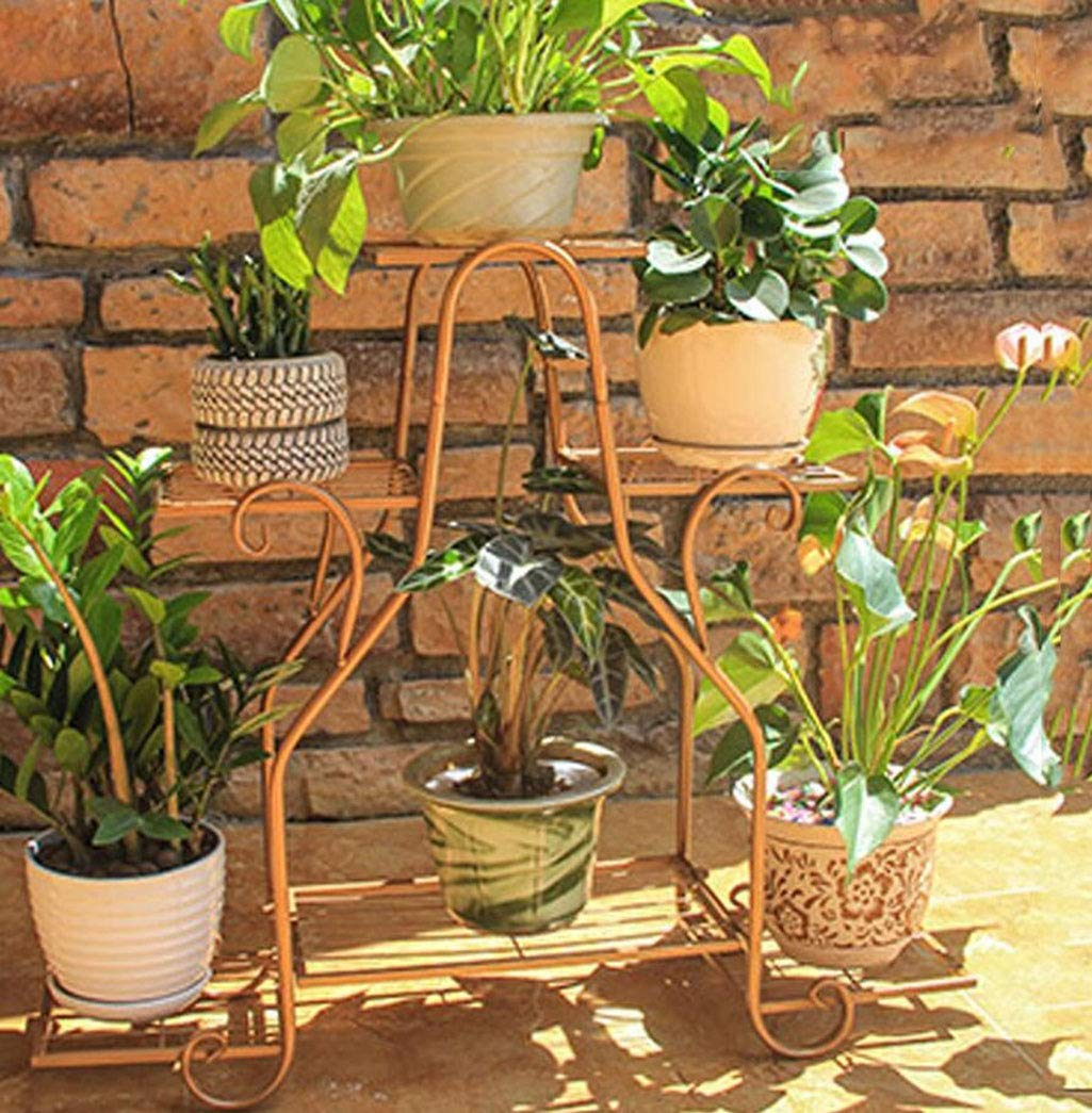 gold Wrought Iron Flower Stand MultiLayer Floor Flower Pot Rack Indoor and Outdoor Living Room Balcony Green Lolli Meat MultiFunctional Wrought Iron Flower Shelf, 3 colors, 3 Sizes,gold,69.2x59.8cm