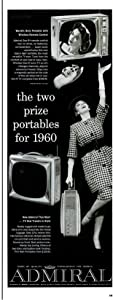 """ORIGINAL *PRINT AD* 1959 ADMIRAL THIN MAN TV & WIRELESS SON-R REMOTE CONTROL """" The Two Prize Portables for 1960 """" VINTAGE LONG NON-COLOR AD - USA - GREAT !!"""