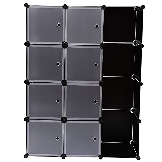 CLEARANCE Homcom Plastic Shelf Bedroom Storage Shelves Units Storage Boxes  Clothes Wardrobe 8 Removable Doors