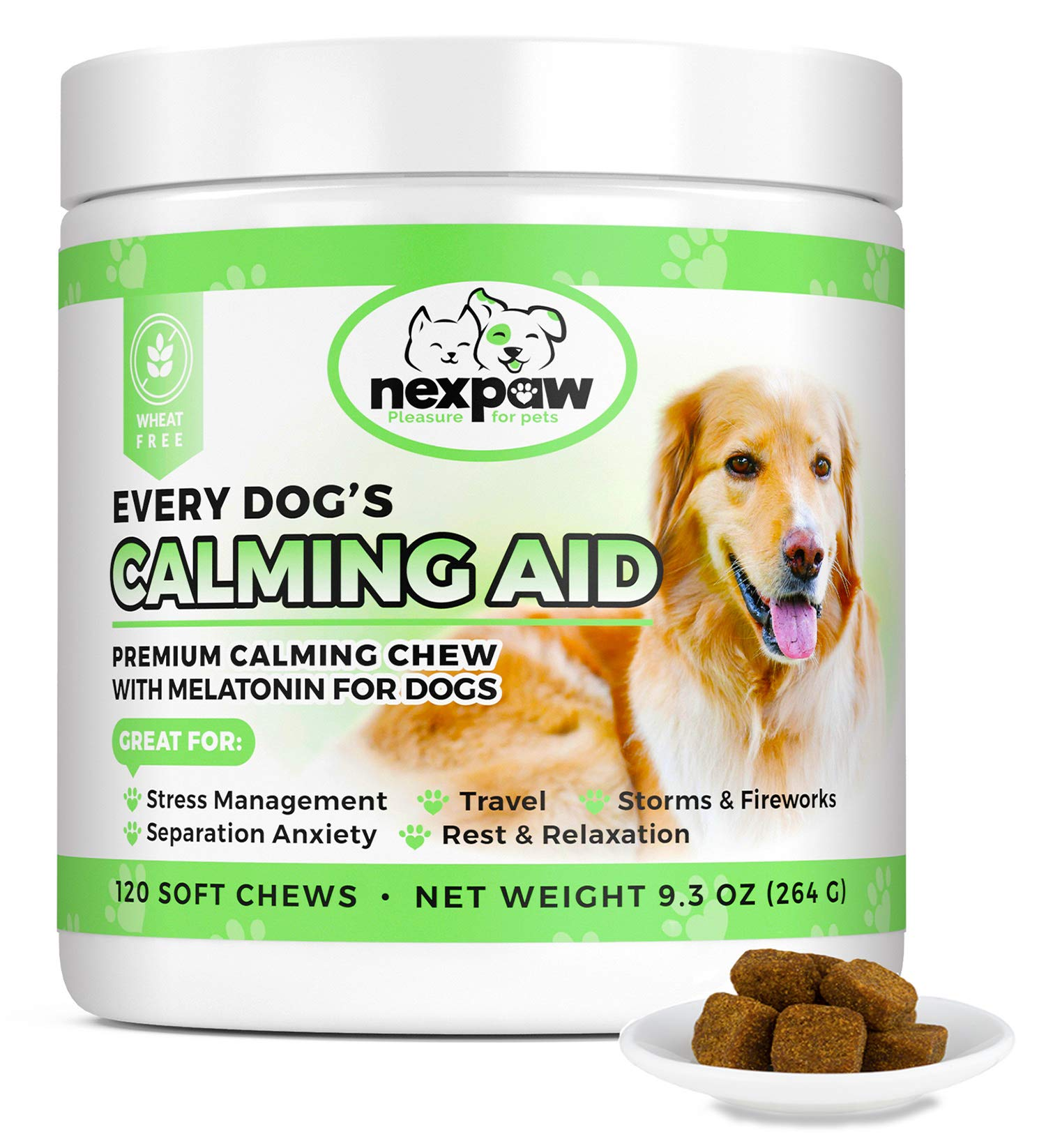 NEXPAW Calming Treats for Dogs with Melatonin - Best for Anxiety from Separation - Thunder - Travel - Safe & Natural Aid - Canine Stress Helper - 120 Wheat Free Soft Chews Dogs Love by NEXPAW
