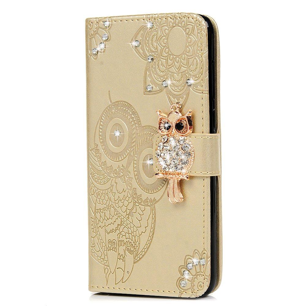 Tophung Funda de piel sintética con tapa para Huawei Honor 9 Lite, diseño de búho de cristal transparente con función atril y ranuras para tarjetas, cierre magnético, para Huawei Honor 9 Lite, rosa