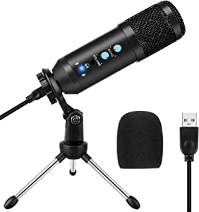 USB Microphone for Computer, Condenser Recording PC Microphone for Mac & Windows, Professional Plug&Play Studio Microphone for Gaming, Podcast, Online Chatting, Videos, Voice Overs and Streaming