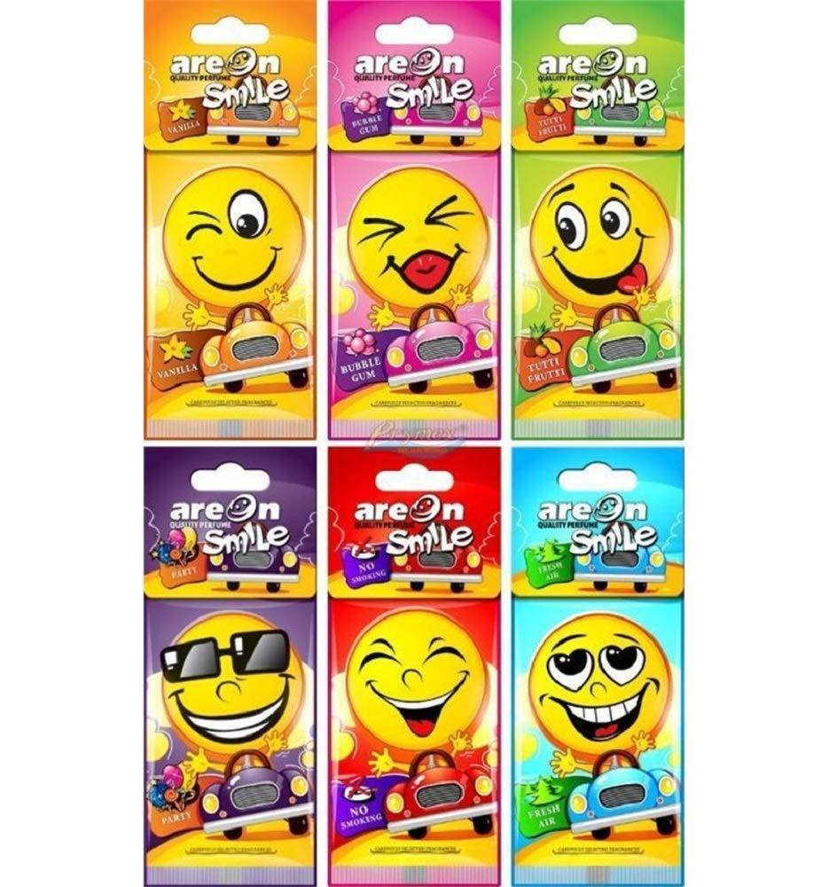 AREON Smile Dry deodorante per auto assortiti Hanging Mirror Fun smiley giallo set multi pack di 24 (6 x 4 pezzi) Balev Corporation Ltd