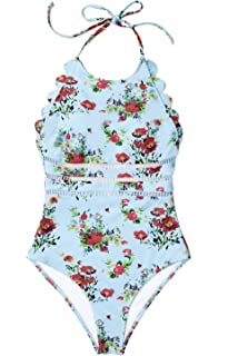 1e17aad5125c1 CUPSHE Women s Rose Garden Cross Ruched Wrap One-Piece Swimsuit at ...