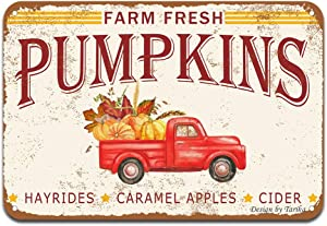Farm Fresh Pumpkins Hayrides Caramel Apples Cider Red Vintage Truck Iron Poster Painting Tin Sign Vintage Wall Decor for Cafe Bar Pub Home Beer Decoration Crafts