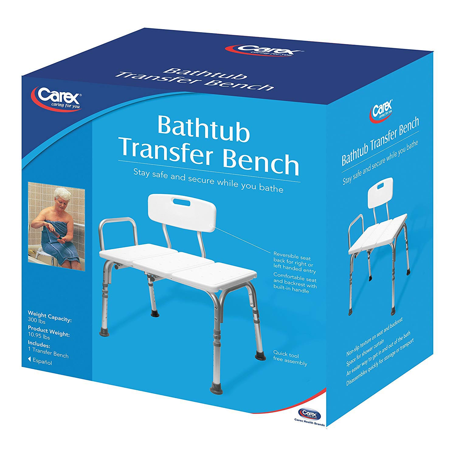 Amazon.com: Carex Tub Transfer Bench - Shower Chair Transfer Bench ...