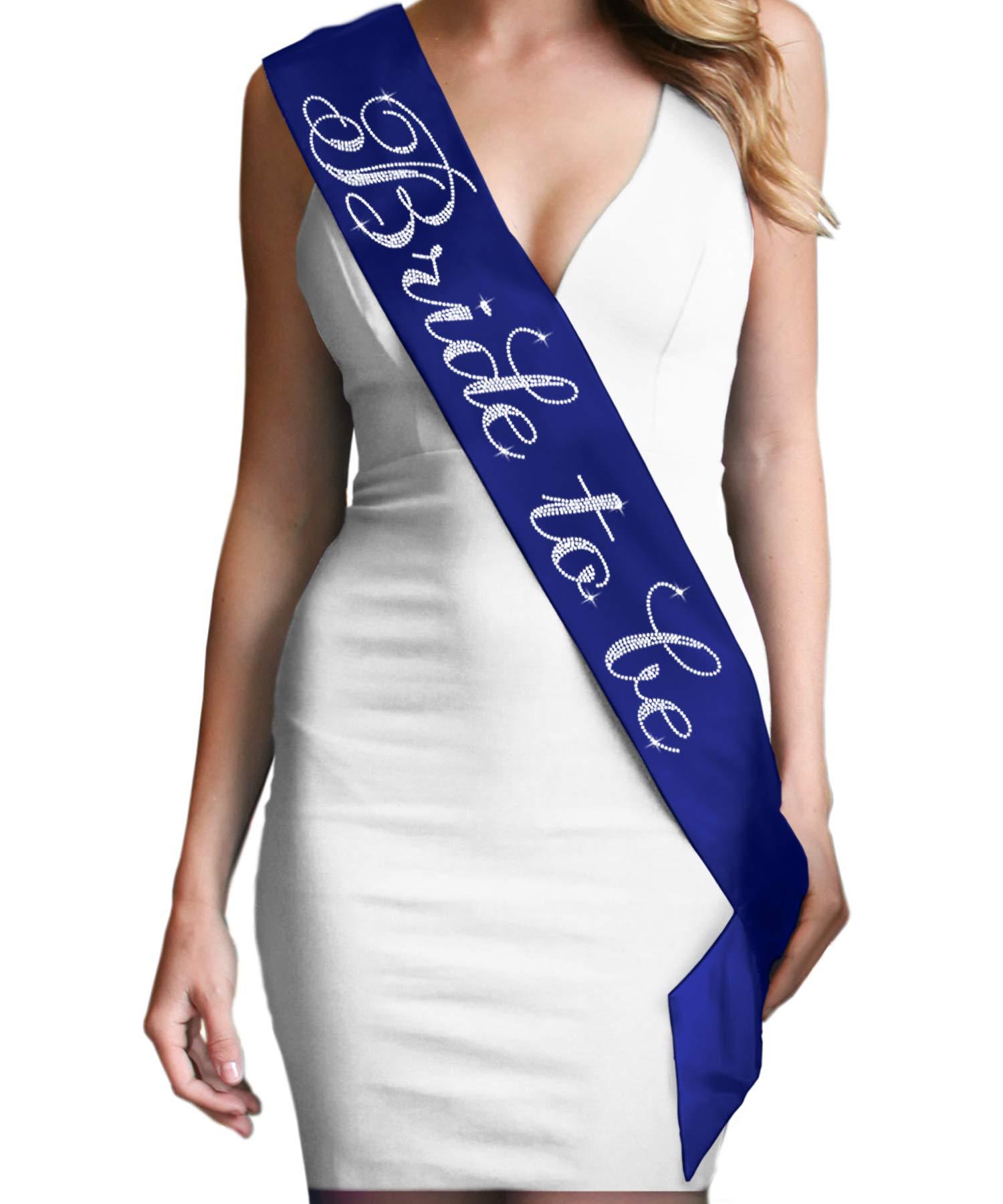 Navy Blue Bride Sash Nautical Bride to Be Flirty Rhinestone Satin Sash - Bridal Shower, Engagement & Bachelorette Decorations & Gifts Navy Blue Sash(FlrtB2B RS) NVY