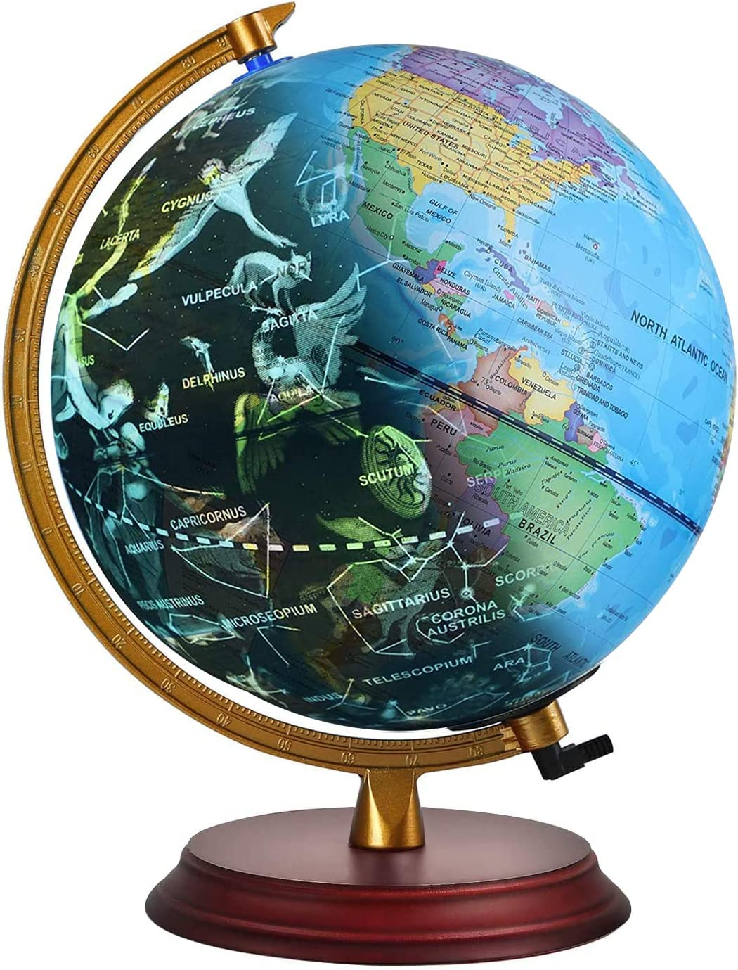 TTKTK Illuminated World Globe for Kids with Wooden Base - Night View Stars Constellation Pattern Globe with Detailed Colorful World Map,Built-in LED Bulb, Educational Gift, Night Stand Decor 8inch
