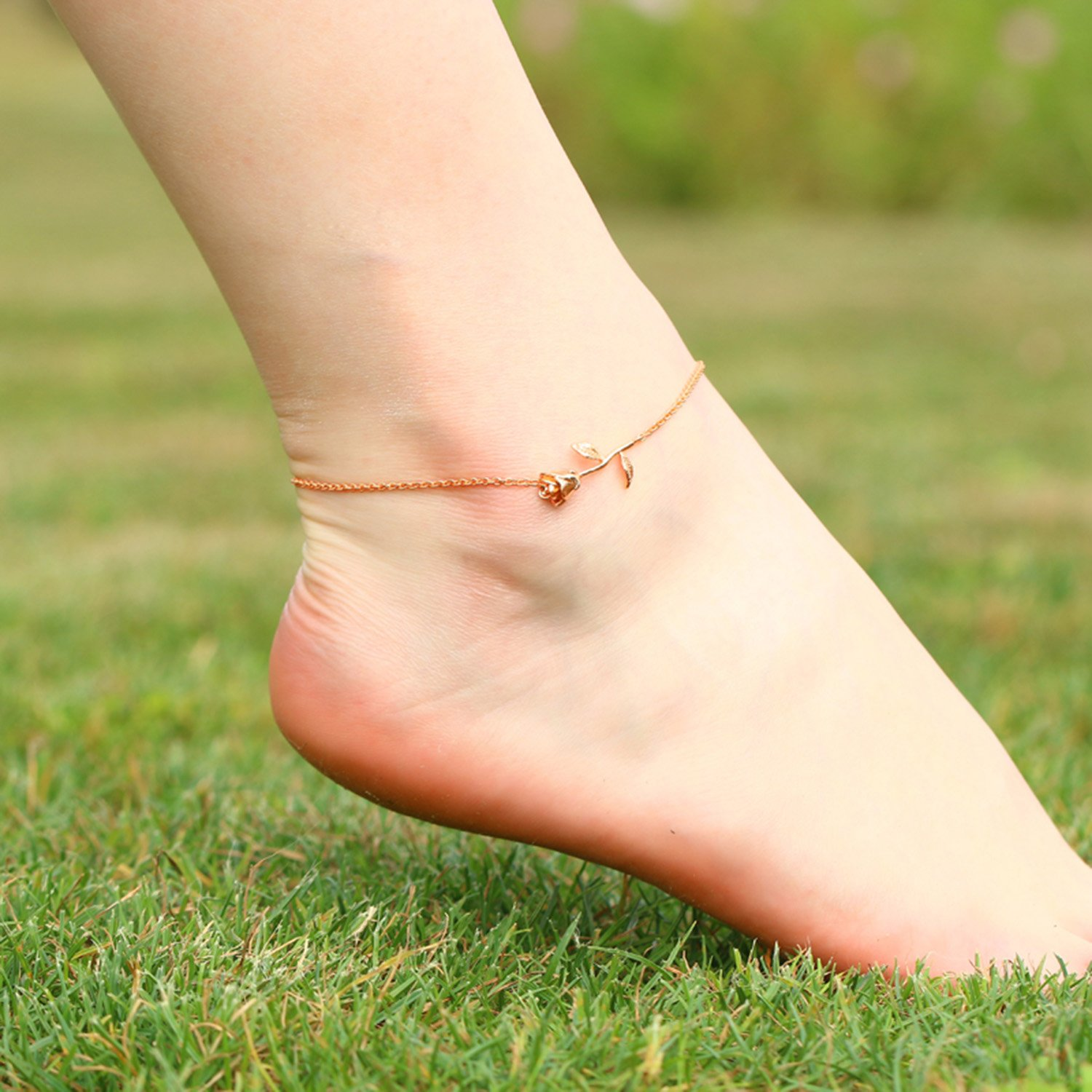 3UMeter Rose Women Girls Anklets Jewelry Exquisite Rose Gold Electroplate Brass Anklets Female, Great Foot Decoration Gift Valentine Mother's Day Birthday by 3UMeter (Image #3)