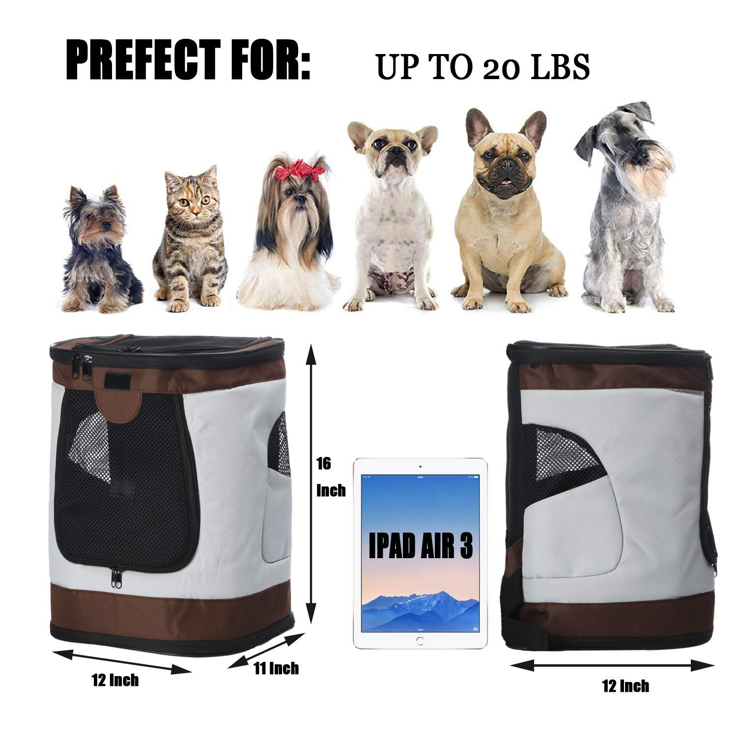 Airline Approved Bag with Mesh Windows for Travel Outdoor up to 20LBS Pet Carrier Backpack for Small Medium Dogs Cats Hiking