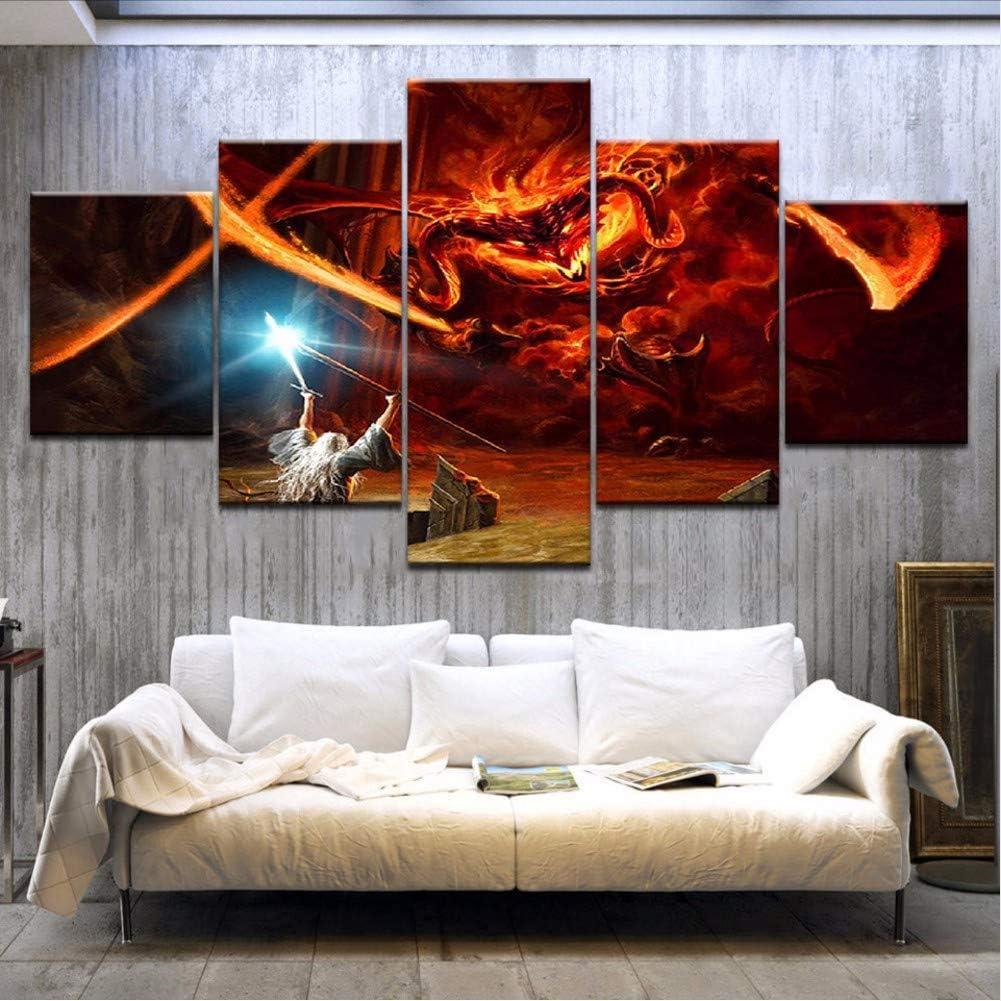 90 cm Rahmenlose NVRENHUA Gandalf Der Herr Der Ringe Balrog Fantasie Leinwand Malerei Wohnzimmer Wohnkultur Moderne Wandkunst /Ölgem/älde 50