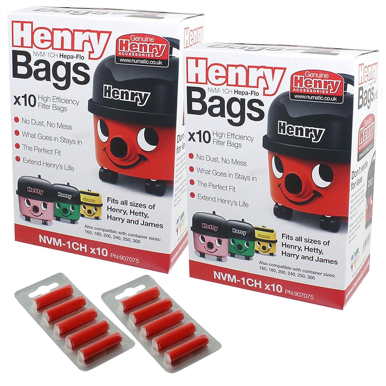 Henry Numatic Hetty etc Hepa FLO Bolsas de Polvo de aspiradora (Lote de 20 + 10 Bolsa ambientador Palos)