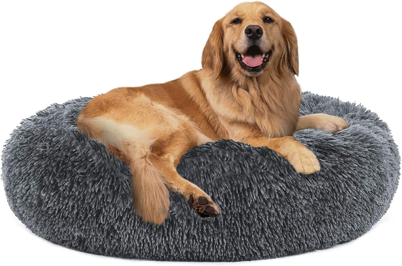 24//32//36 PUPPBUDD Calming Dog Bed Cat Bed Donut Faux Fur Pet Bed Self-Warming Donut Cuddler Comfortable Round Plush Dog Beds for Large Medium Dogs and Cats