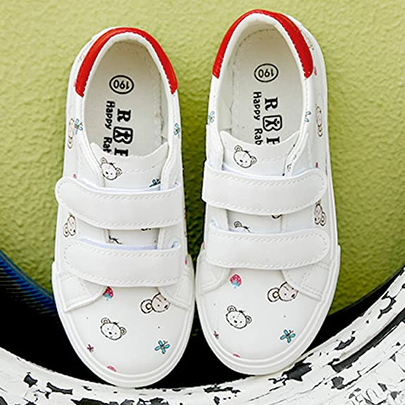 SFNLD InStar Kids Casual Round Toe Hook and Loop Straps Low Top Walking Skate Sneakers
