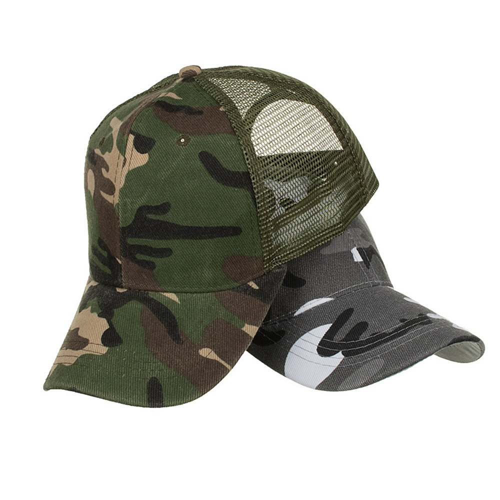 Bravetoshop Camouflage Summer Cap Mesh Hats for Men Women Casual Hats Hip Hop Baseball Caps Z- Brown, Free Size