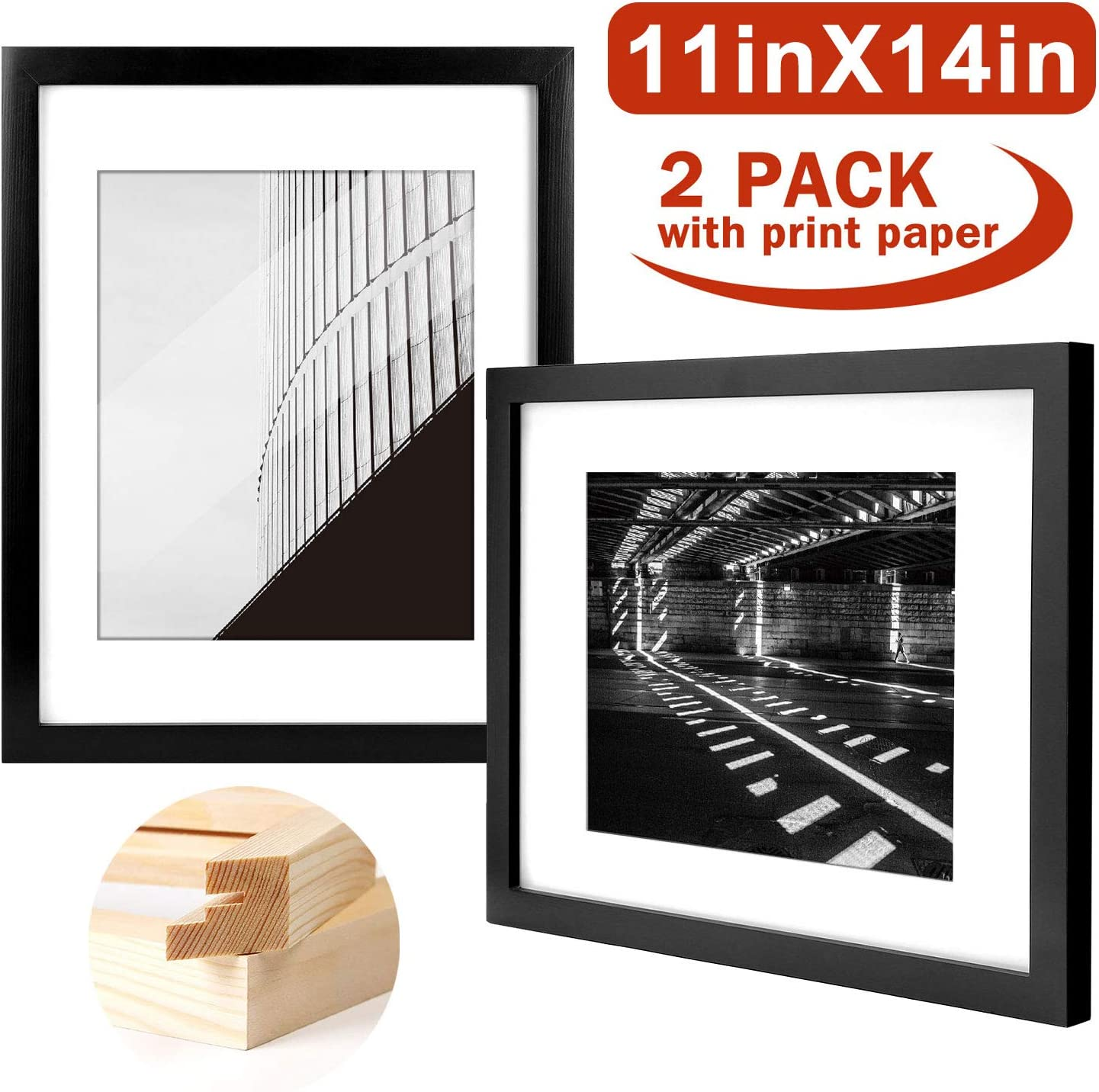 Yome 11x14 Black Picture Frames, Collage Photo Frames Set Made of Solid Wood and Plexiglass for Wall Display Pictures 8x10 with Mat, Mounting Hardware Included, 2 pack