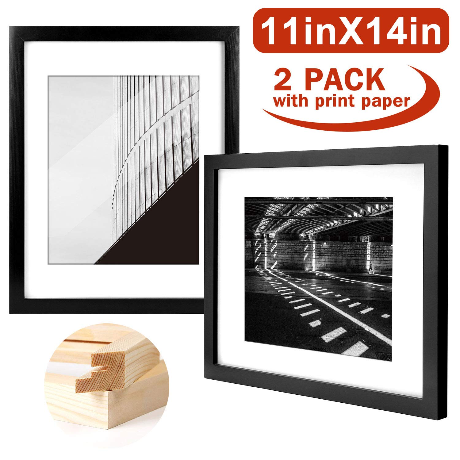 Yome 11x14 Black Picture Frames, Collage Photo Frames Set Made of Solid Wood and Plexiglass for Wall Display Pictures 8x10 with Mat, Mounting Hardware Included, 2 pack by Yome