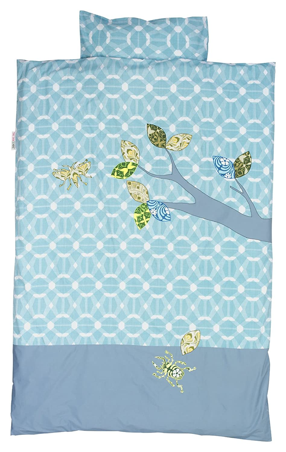 Taftan Inke and Taftan Duvet Cover Set 100 x 135cm for Cot (Blue Insects) DS-422
