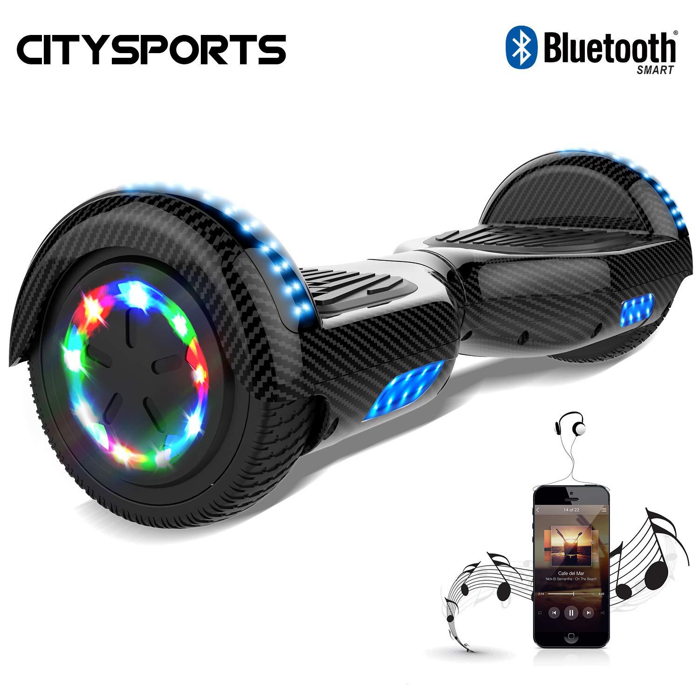 CITYSPORTS Hoverboard 6.5 Pulgadas, Self Balancing Scooter Patinete Eléctrico, Ruedas de Led Luces, Bluetooth, Motor 700W