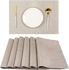 Spring Garden Home Summer Party Decorative Table Placemats Cross Weave Textured Woven Fabric Heat Resistant Table Mats for Kitchen Dining Table, 13 x 19 Inches Set of 6, Greyish Green & Linen
