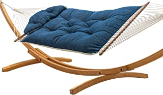 product image for Hatteras Hammocks Platform Indigo Sunbrella Tufted Hammock with Free Extension Chains & Tree Hooks, Handcrafted in The USA, Accommodates 2 People, 450 LB Weight Capacity, 13 ft. x 55 in.