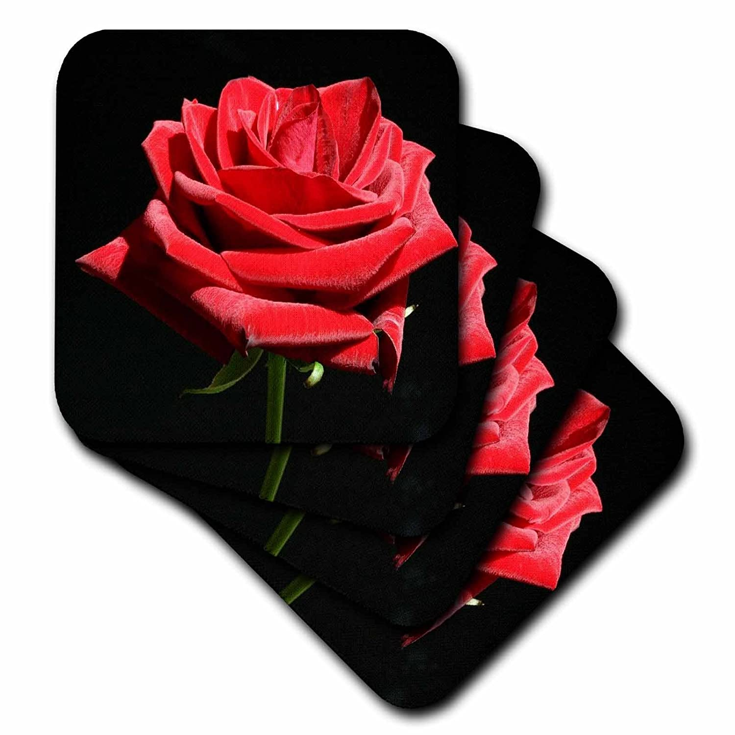 3dRose cst/_53266/_2 Irresistable Red Rose Soft Coasters Set of 8