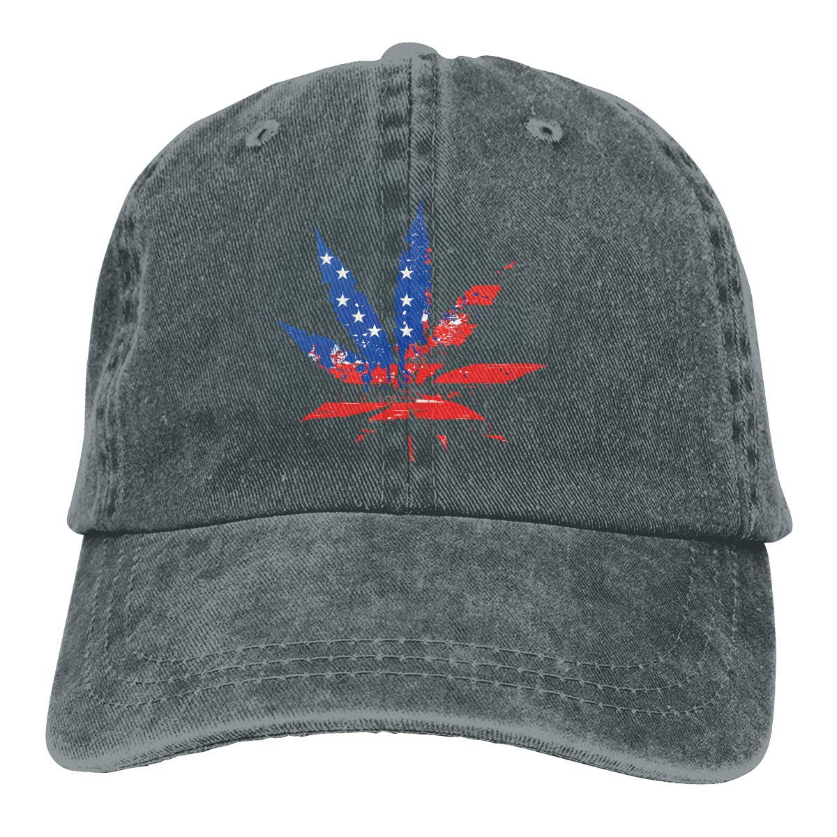 US Weed Flag Fashion Unisex Washed Cap Adjustable Dads Denim Stetson Hat