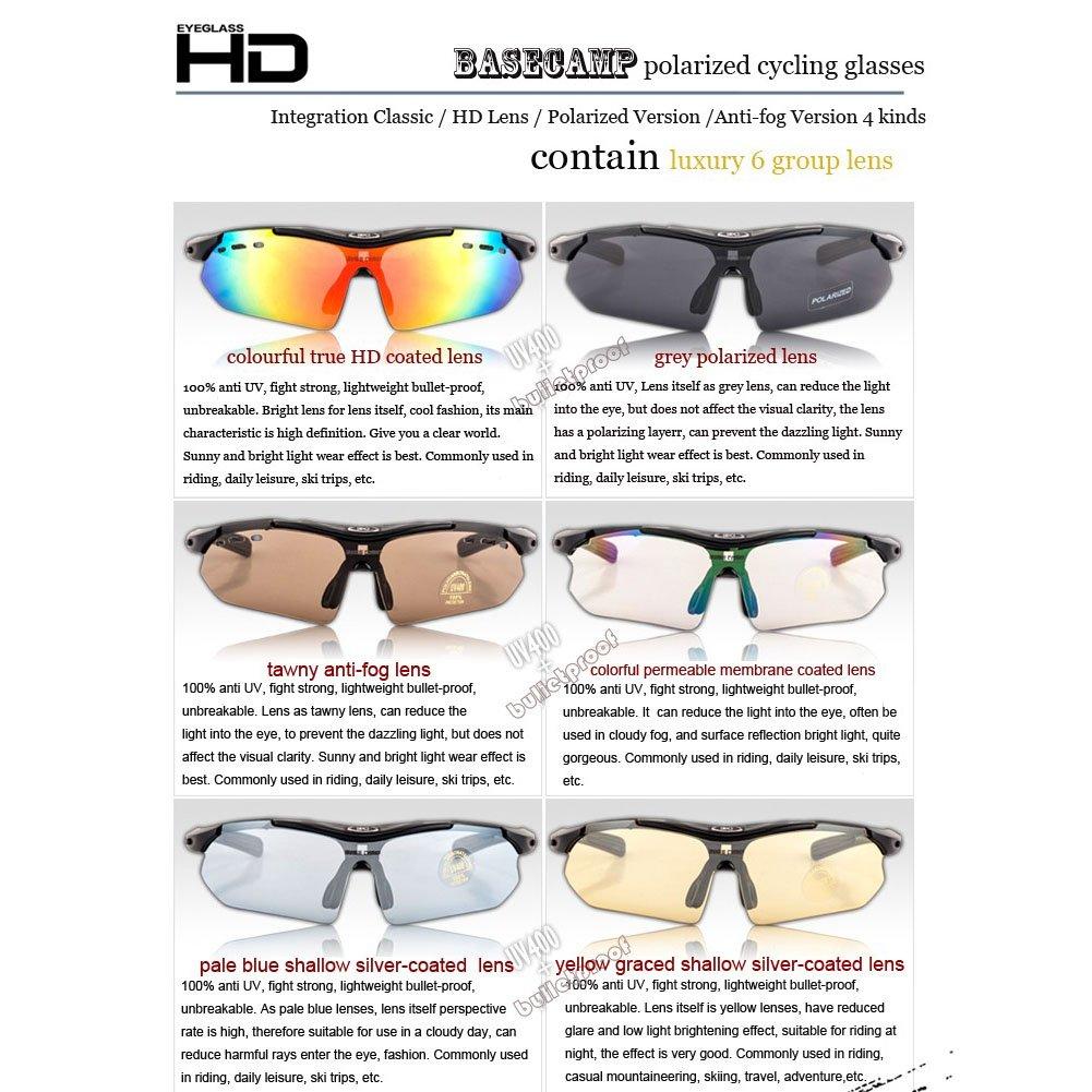 Extrbici Unisexe Sports Lunettes de soleil polarisées TR90Cadre léger incassable Myopic monture de lunettes 6interchangeables Lentilles 100% UV400protection antibuée étanche objectif Lunettes de na kcuovDdn