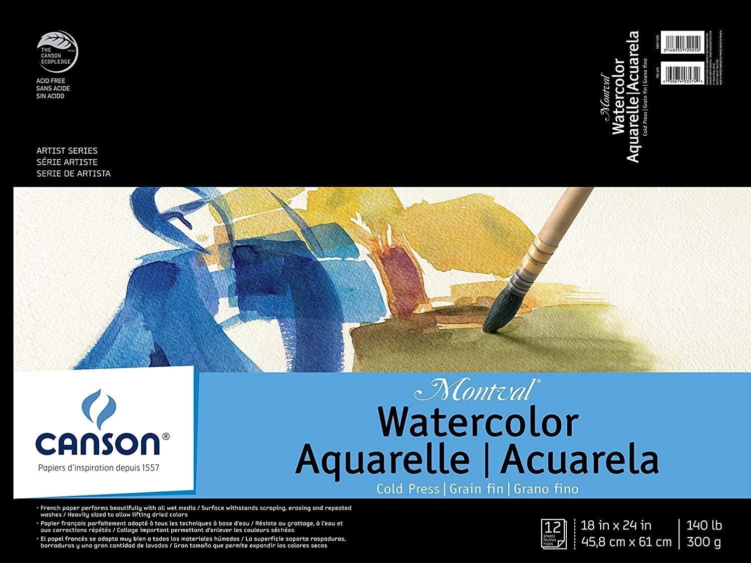 """30 sheets - Tape Bound Canson XL Watercolor Pad 18x24/"""""""