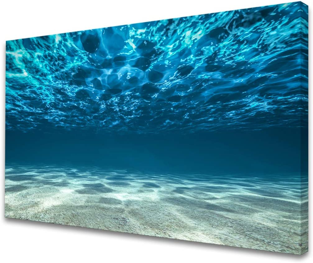S00769 Print Artwork Blue Ocean Sea Wall Art Canvas Prints Picture Seaview Bottom View Beneath Surface Pictures Painting On Canvas Modern Seascape framed for Bedroom Living Room Home Office