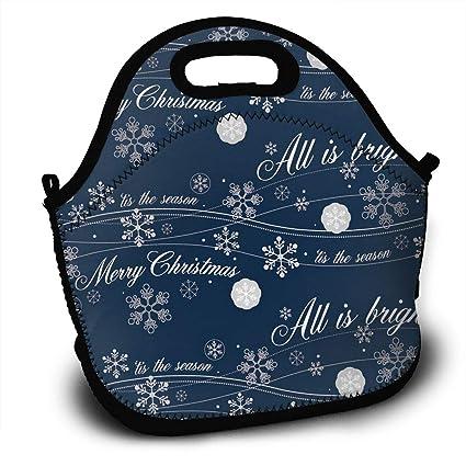 941123721f69 Amazon.com - SARA NELL Neoprene Lunch Bag Christmas Navy Snowflakes ...