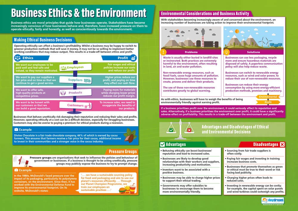 Business Ethics /& the Environment Gloss Paper measuring 850mm x 594mm A1 Business Posters Education Charts by Daydream Education | Business Class Posters