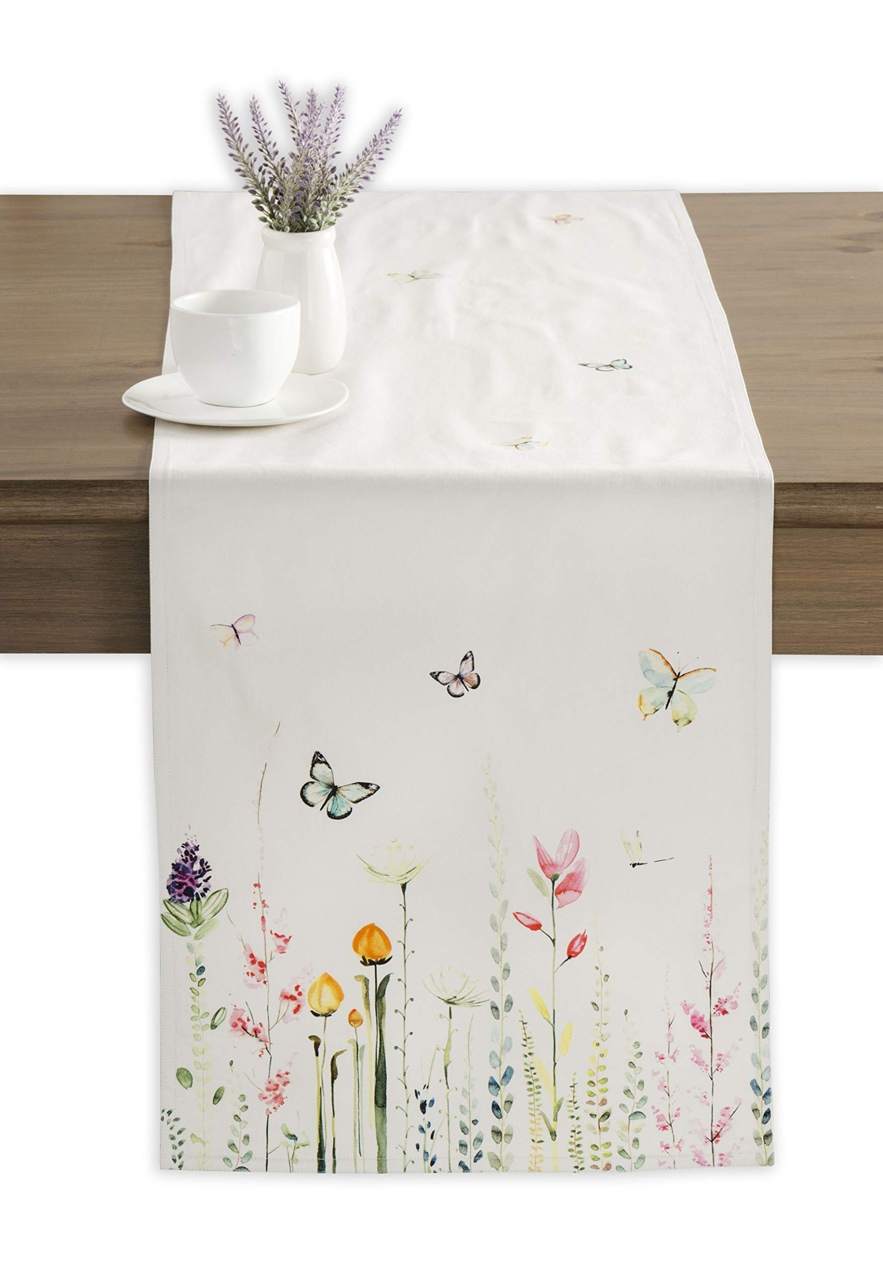 Maison d' Hermine Botanical Fresh 100% Cotton Table Runner 14.5 Inch by 108 Inch - Designed in Europe. 100% Cotton and machine washable. Package Includes : 1 Table Runner - table-runners, kitchen-dining-room-table-linens, kitchen-dining-room - 71y5JTutJ8L -