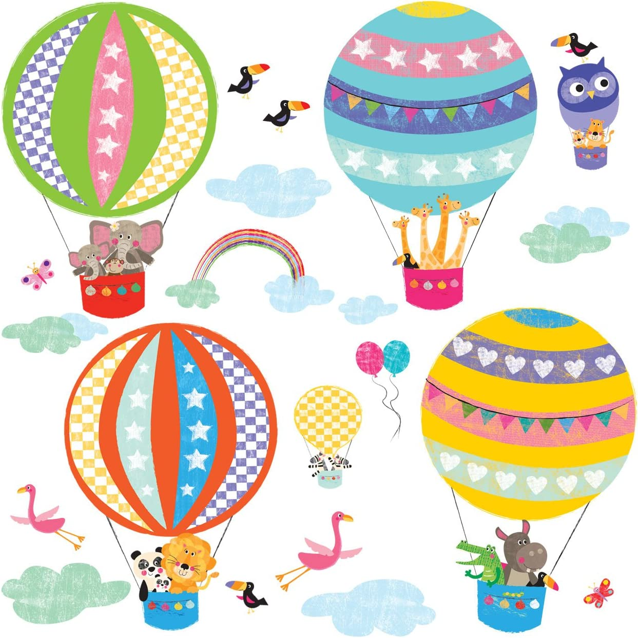 DECOWALL DA-1710B Hot Air Balloon Animals Kids Wall Stickers Wall Decals Peel and Stick Removable Wall Stickers for Kids Nursery Bedroom Living Room décor