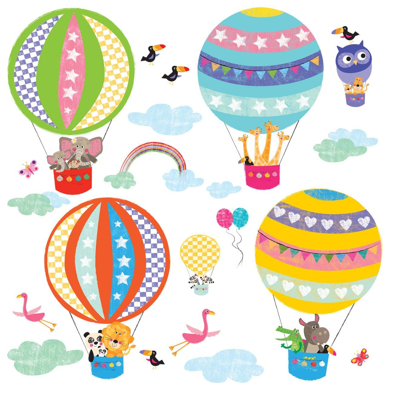 Decowall DA-1710B Hot Air Balloon Animals Peel and Stick Nursery Kids Wall Stickers Decals