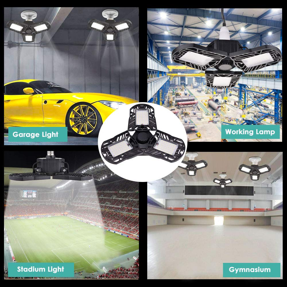 Garage Lights Led Shop Lights for Garage Workshop LED Light Bulbs for Warehouse Indoor Lamp 7500LM 60w Deformable Led Garage Ceiling Light Fixture Adjustable Triple Glow Led Garage Light Screw in