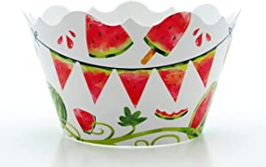 "Watermelon Party Supplies Cupcake Wrappers (12 Pack) -""One In A Melon"" Birthday Decorations, Table Decor & Summer Party Favors"