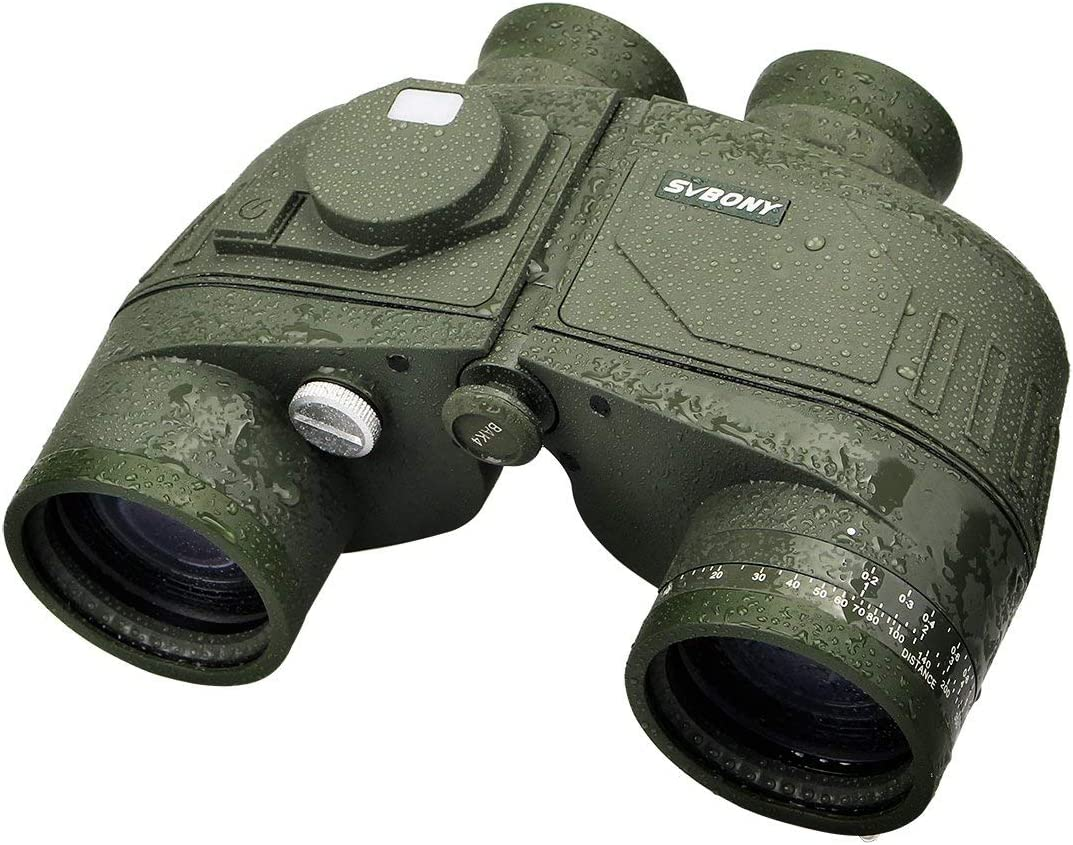 SVBONY SV27 Military Binocular for Adults 7×50 Waterproof with Bak4 Porro Prism Rangefinder and Compass Marine for Hunting Boating and Sea adventure