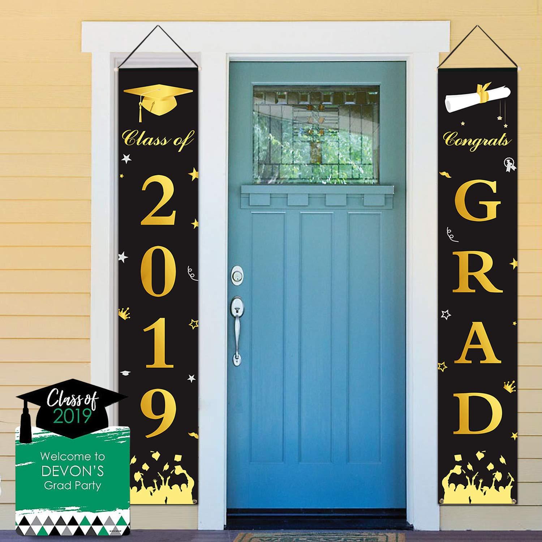 Dazonge Graduation Banner - Graduation Party Supplies 2019 - Congrats Grad & Class of 2019 Hanging Flags Banner - Indoor/Outdoor Graduation Decorations